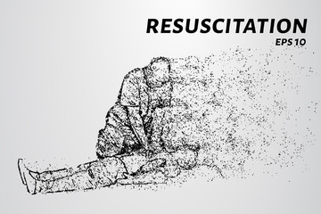 Resuscitation of the particles. People doing CPR on the victim. Vector illustration