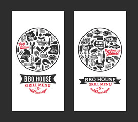Vector barbecue, grill and steak house cards