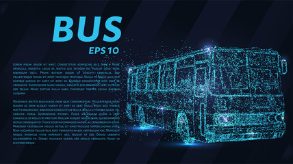 The bus from the particles. The bus consists of dots and circles. Vector illustration.
