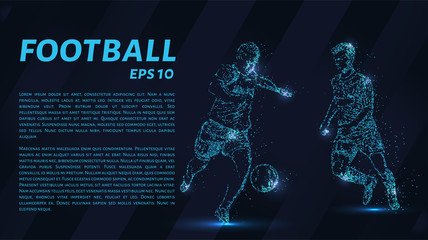 Football which consists of points. Particles in the form of a football player on dark background. Vector illustration. Graphic concept soccer