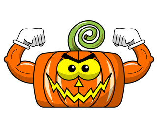 Square threatening halloween pumpkin showing muscles isolated