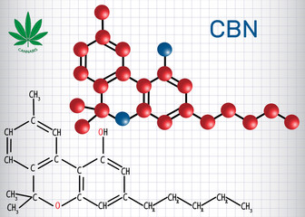 Cannabinol (CBN) - structural chemical formula and molecule model. Weak psychoactive cannabinoid,  is a metabolite of tetrahydrocannabinol. Sheet of paper in a cage