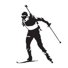 Biathlon racing, skier vector silhouette
