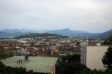 Old town of Lucerne panorama with the view of Mount Pilatus, Switzerland