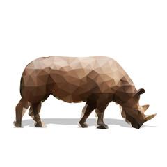 Rhinoceros walking, abstract geometric vector silhouette. Side view