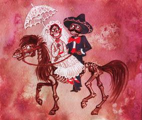 Watercolor Mexican the Day of the dead card. Painting illustration of Dea de los muertos