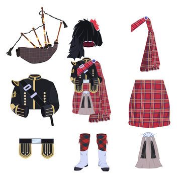 Scottish traditional costume elements and bagpipes flat vector icon set