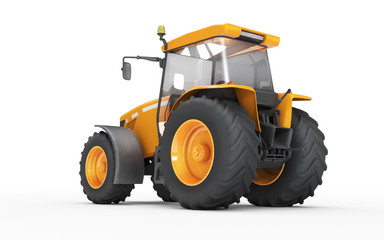 Wheel agricultural tracktor isolated on white background. Rear view