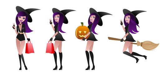 Set of sexy witches. Halloween sale concept.