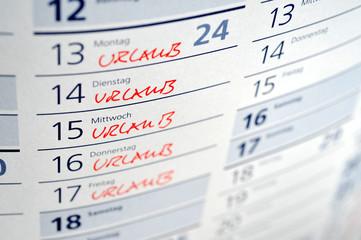 Urlaub, Urlaubsplanung, Freizeit, Reise, Erholungsurlaub, Kalender, Arbeitsrecht, Tarifvertrag, Arbeitsvertrag, Ferien, Sabbatical