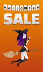 halloween sexy witch flying on broom from boutique shopping sale