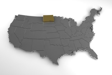 United States of America, 3d metallic map, whith North Dakota state highlighted. 3d render