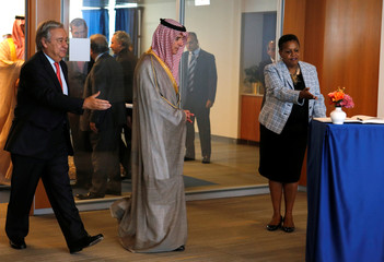 Saudi Arabia's Foreign Minister Adel bin Ahmed Al-Jubeir is greeted by United Nations Secretary General Antonio Guterres at the U.N. Headquarters in New York City