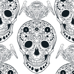 Seamless pattern, background with sugar  skull and floral pattern. Outline drawing. Stock line vector illustration.