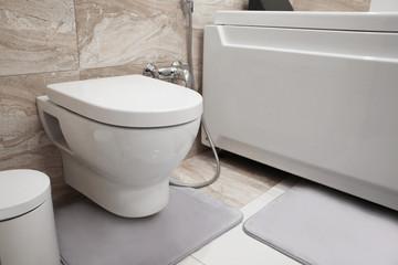 Modern toilet in bathroom interior