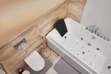 Interior of light bathroom in spa salon