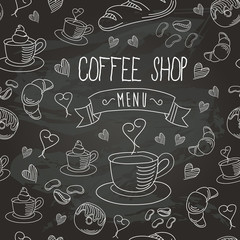 Chalkboard Coffee Shop Bistro Vector Food Icons Seamless Pattern 1