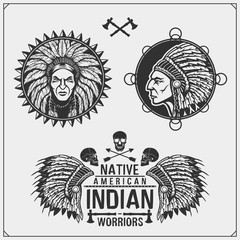 Set of american indian labels, badges, emblems and design elements.