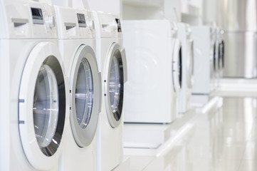 washing machines in appliance store