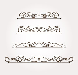 Set of four fancy design elements and page decoration. Vector illustration