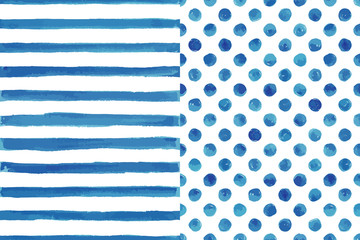 Set of two watercolor seamless patterns, blue color. Stripes and polka dot. For any your design project eco, natural, organic them. Or for print on any item.