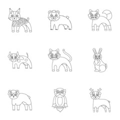 Farm, zoo, ecology and other web icon in outline style.Marsupial, Australia, nature icons in set collection.