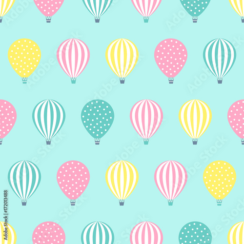 Hot Air Balloon Seamless Pattern Baby Shower Vector Illustration On Mint Green Background Pastel