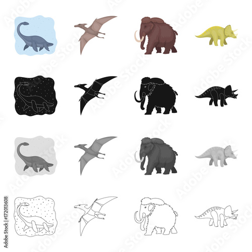 Marine dinosaur, pterodactyl, prehistoric mammoth, triceraptor. Dinosaurs and prehistoric set collection icons in cartoon black monochrome outline style vector symbol stock illustration web.