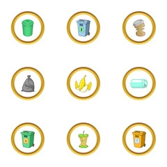 Junk icons set, cartoon style