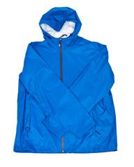 Blue men's rain jacket isolated on white background