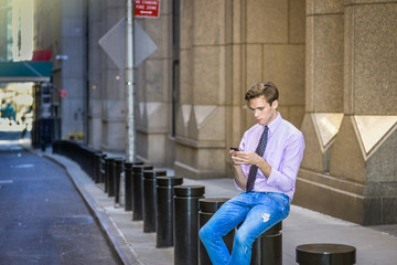 Young Man Texting anywhere