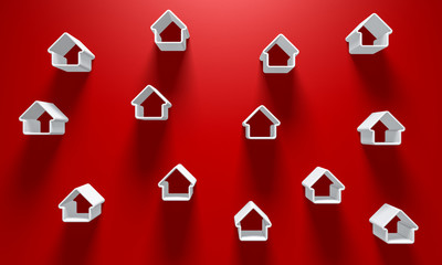 3D Illustration - Red Background with a few white house silhouettes with light above