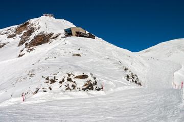 Upper cable car station in Mallnitz, an Austrian ski resort below Ankogel peak.