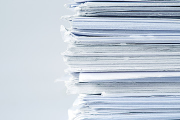 extremely close up  the report paper stacking of office working document