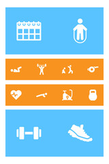 Set Of 12 Fitness Icons Set.Collection Of Training Bicycle, Barbell, Blower And Other Elements.