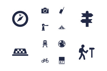 Set Of 12 Travel Icons Set.Collection Of Bike, Baggage, Traveler And Other Elements.