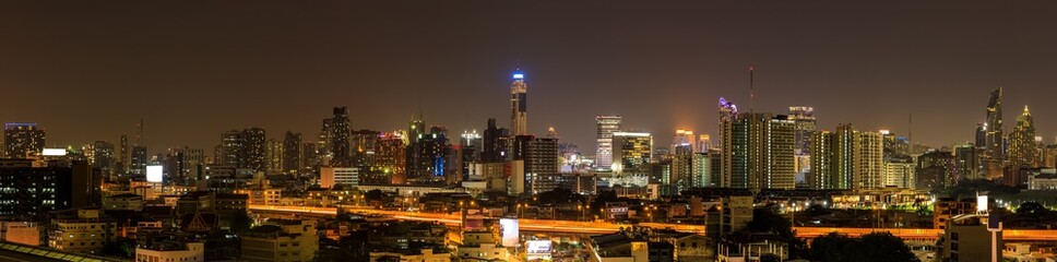 Landscape panorama of Bangkok city with Baiyoke Tower II in Thailand. Business district with high building
