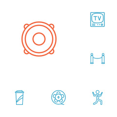 Set Of 6 Entertainment Outline Icons Set.Collection Of Barrier Rope, Tv Set, Dancing Man And Other Elements.