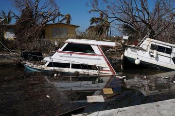 A sunken boat is pictured after Hurricane Irma in Cudjoe Key,. Florida