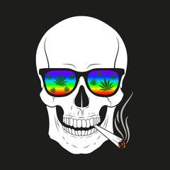 Skull smoking. Vector.