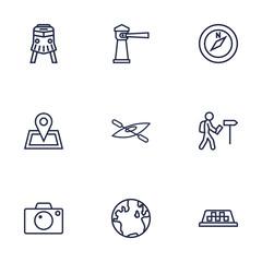 Set Of 9 Relax Outline Icons Set.Collection Of Compass, Boat, Front View Tram And Other Elements.