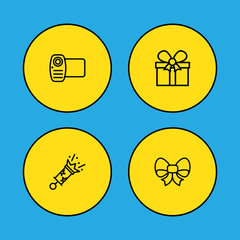 Set Of 4 Party Outline Icons Set.Collection Of Video, Gift, Bow And Other Elements.