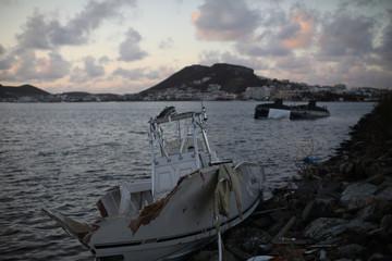 Wrecked boats lie are seen following Hurricane Irma in Sint Maarten (Saint Martin) island