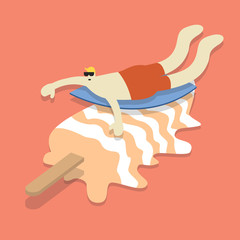 Vector of a man surfing on an ice cream stick