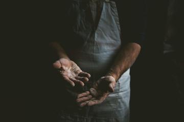 Hands of a bread maker