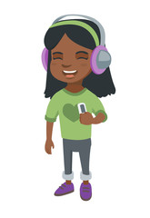 African-american girl enjoying music in headphones. Little girl in earphones listening to music with a music player. Vector sketch cartoon illustration isolated on white background.