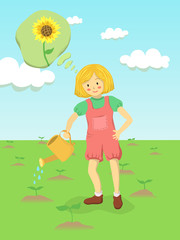 A little girl is gardening and watering sunflower sprout at the garden. She wondering it will be a garden with full of beautiful sunflower.