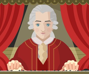 great classical musician composer on theater stage and piano