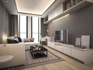 3d rendering luxury and modern living room with good design leather sofa
