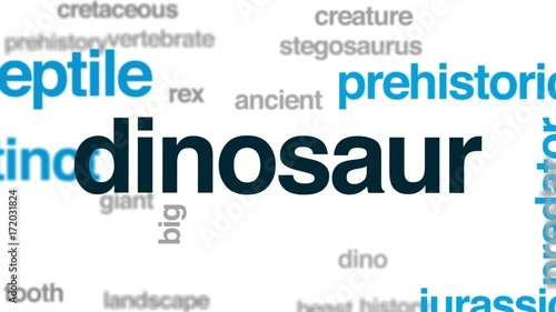 Dinosaur animated word cloud, text design animation.